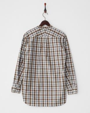 ブラウン  チェック バンドカラーカットオフシャツ見る
