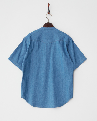 インディゴ  デニムプルオーバー半袖シャツ見る