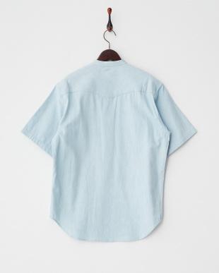 ライトブルー  デニムプルオーバー半袖シャツ見る