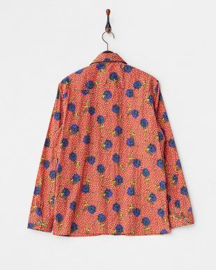 RD/BL LIBERTY プリント フラワー柄オープンカラー長袖シャツ見る