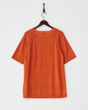オレンジ  ブークレーラグラン半袖ニットTシャツ見る