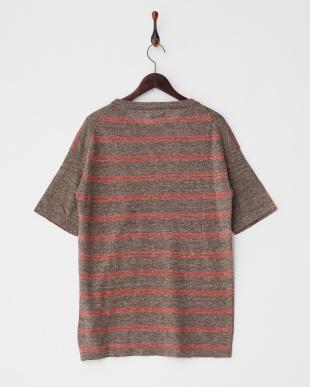 ブラウン  リネンWボーダーニットTシャツ見る