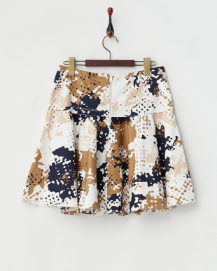 マルチ ペイント柄裾フレアスカート見る