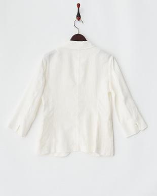 ホワイト  FRENCH LINEN7分袖1Bジャケット見る