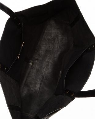 ブラック  横長レザートートバッグ|UNISEX見る