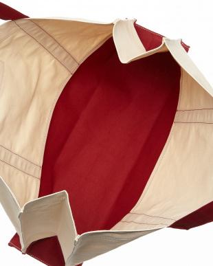 オフホワイト×レッド  キャンバストートバッグ|UNISEX見る