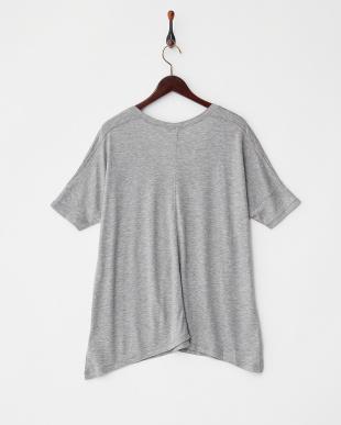 ライトグレー  ポンチVネックワイドTシャツ見る