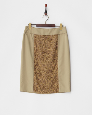 カーキ  刺繍レース切り替え シルク混スカート見る