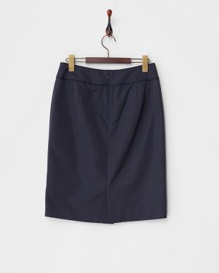 ネイビー  刺繍レース切り替え シルク混スカート見る