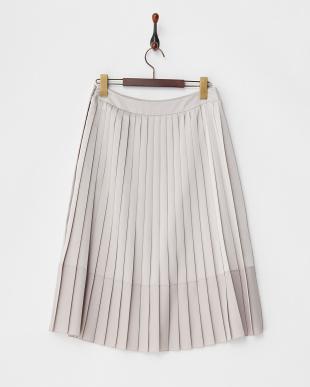 ライトグレー サテンプリーツスカート見る