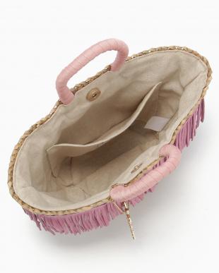ピンク Cascatina フリンジミニかごバッグ見る