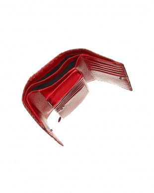 レッド  パイソンレザー 3つ折り財布見る