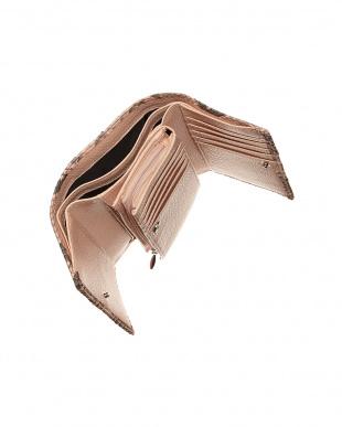 ピンク  パイソンレザー 3つ折り財布見る