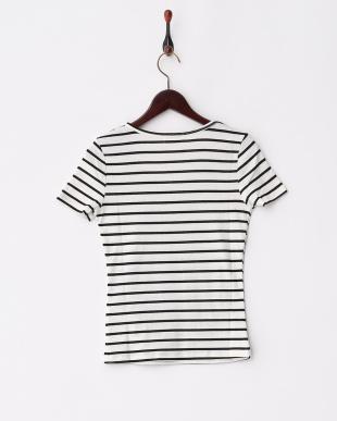 WHT*BLK  ボーダーUネック二重Tシャツ見る
