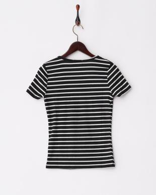 BLK*WHT  ボーダーUネック二重Tシャツ見る
