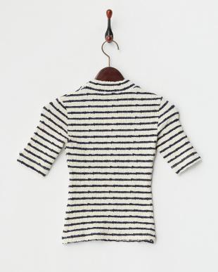 WHITE LT ハイネックボーダーストレッチニットTシャツ見る