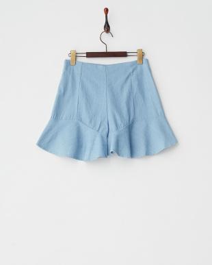 BLUE LT  裾フリルショートパンツ見る