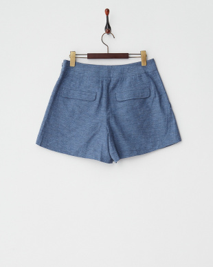 BLUE LT  MELANGE TWILL CENTER TUCKED SHORT PANTS見る