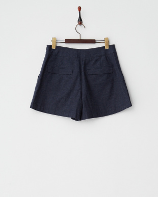 BLUE DK  MELANGE TWILL CENTER TUCKED SHORT PANTS見る
