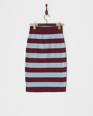 SAX/WINE ニットボーダータイトスカート見る