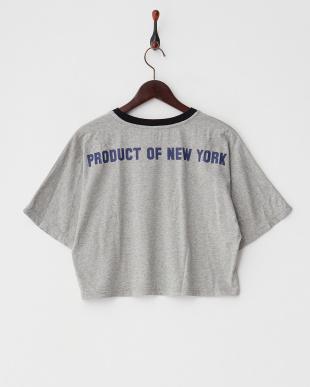 GREY MID  プリントリンガーTシャツ見る