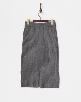 gray  ニットリブスカート見る