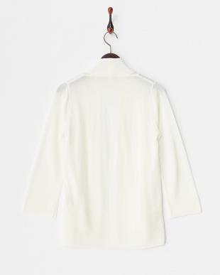 ホワイト  裾ガーター ショール衿羽織カーディガン見る