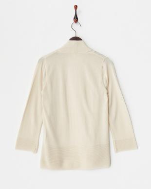ベージュ  裾ガーター ショール衿羽織カーディガン見る