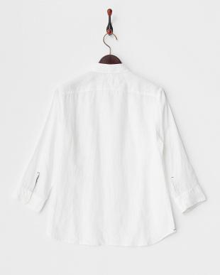 ホワイト フレンチリネン 7分袖シャツ見る