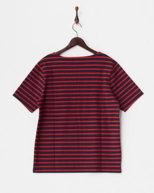 ネイビー×レッド 半袖バスクボーダー Tシャツ見る