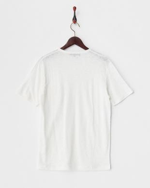 オフホワイト リネン度詰め天竺ショートスリーブ ニットTシャツ見る