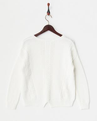 ホワイト  柄編み後ろスリットプルオーバー見る