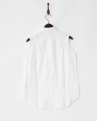 ホワイト  ラウンドカラー ノースリーブリネンシャツ見る