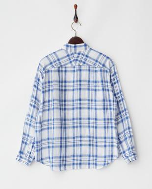 ブルー チェック柄リネンシャツ見る