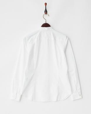 ホワイト 比翼長袖シャツ見る