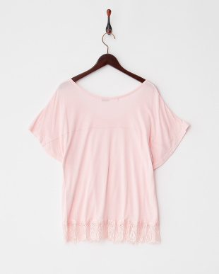 ピンク レース×カットソー Tシャツ見る