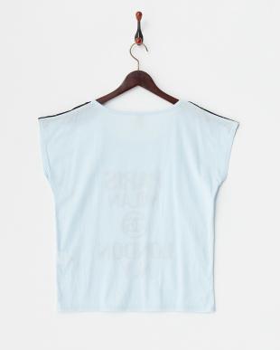 ブルー 肩レースロゴ入リTシャツ見る