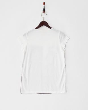 ホワイト  フロント切り替え モノクロプリントTシャツ見る