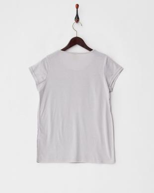 グレー  フロント切り替え モノクロプリントTシャツ見る