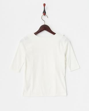 ホワイト 肩フリル リブ5分袖Tシャツ見る