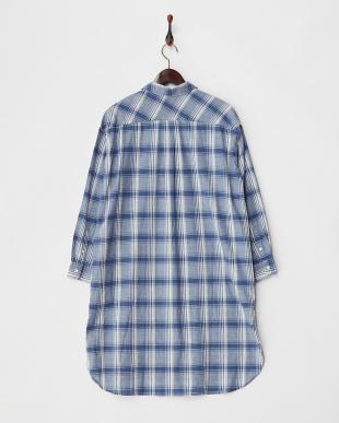 ブルー  綿麻チェックシャツワンピース見る