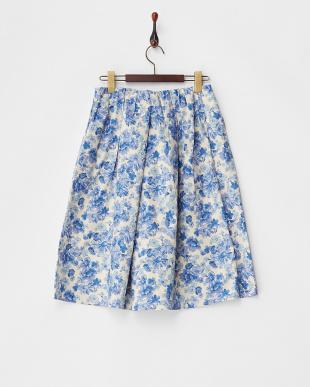 ブルー  パンツ・花柄タイプライターガウチョ見る