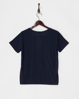 ネイビー  カットソー・プリント半袖Tシャツ見る
