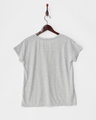 グレー  カットソー・プリント半袖Tシャツ フロントラウンドヘム見る