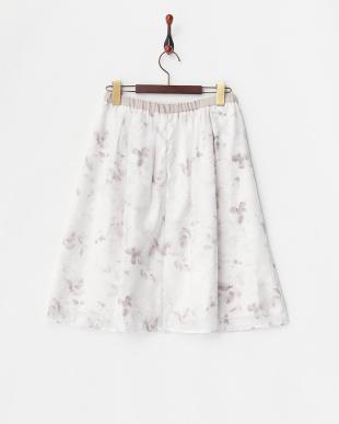 ベージュ  オパールフラワータックフレアスカート見る