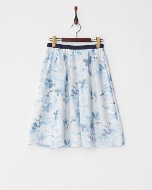 ブルー  オパールフラワータックフレアスカート見る