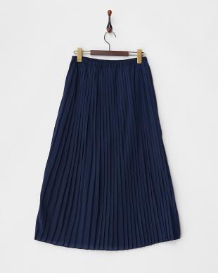 Navy ファインプリーツロングスカート見る