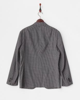 Charcoal Gray ウール混ミニチェック3釦ジャケット見る