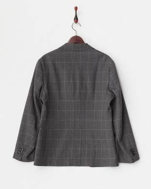 Charcoal Gray ウール混ウインドペン3釦ジャケット見る