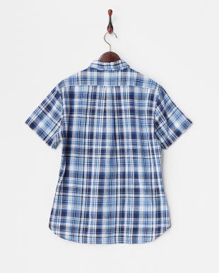 Blue チェック半袖シャツ見る